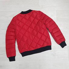 Куртка женская короткая стеганная. Бомбер Красная-M-208-031, фото 2
