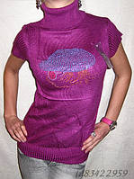 """Стильный женский свитер-гольф с коротким рукавом """"Кепка"""""""