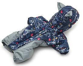 Комбінезон для собак Амур з капюшоном, на підкладці omni-heat,синій+сірий