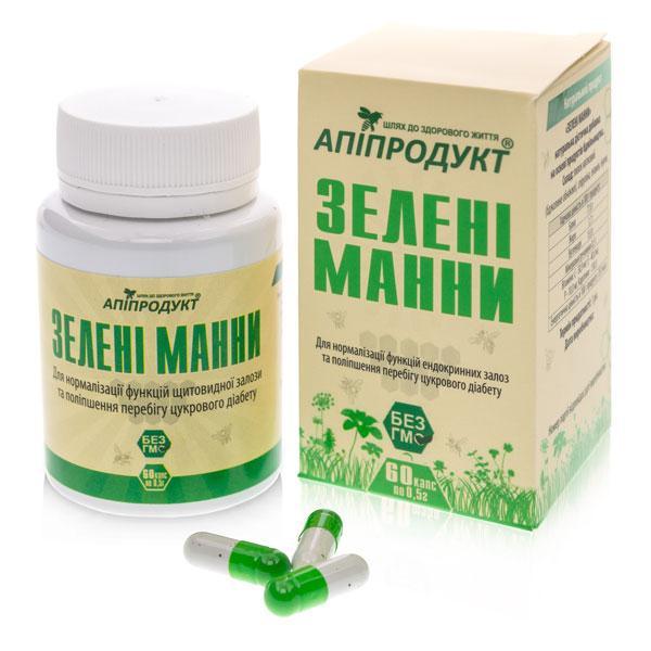 Зелені манні [Апіфітопрепарат. Свідчень при діабеті. Підвищує життєвий тонус]