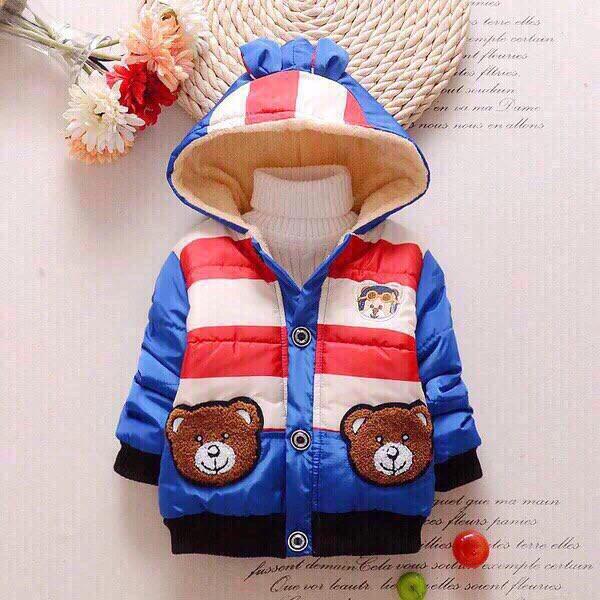 Куртка детская на мальчика синяя осень/еврозима с мишкой