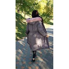 Куртка длинная серая розовый мех на капюшоне (размер L)-215-03-1, фото 2