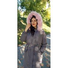 Куртка длинная серая розовый мех на капюшоне (размер L)-215-03-1, фото 3