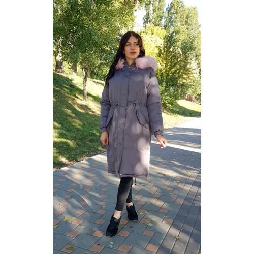 Куртка длинная серая розовый мех на капюшоне (размер L )- Код - 215-03-1