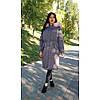 Куртка длинная серая розовый мех на капюшоне (размер L)-215-03-1