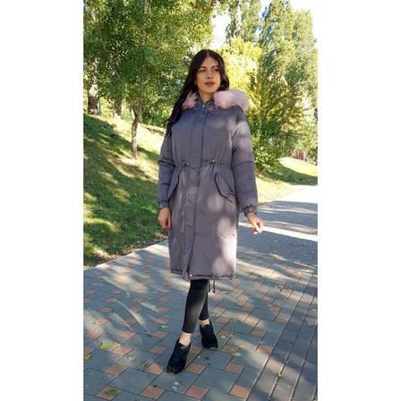 Куртка длинная серая розовый мех на капюшоне (размер L )- Код - 215-03-1, фото 2