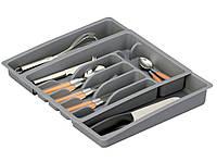 Складной контейнер для столовых приборов, вкладыш для ящика - серый, 29-50 x 38 x 6,5 см, ZELLER (7682)