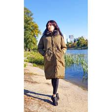 Куртка длинная хаки тёмный мех на капюшоне (размер XL)- Код - 215-02-1, фото 3