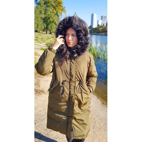 Куртка длинная хаки тёмный мех на капюшоне (размер XL)- Код - 215-02-1