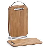4 бамбуковые кухонные доски + подставка в комплекте, ZELLER (25260)