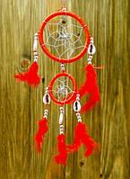 """Ловець Снів """"Два Кільця"""" з каурі, червоний"""