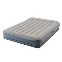 Двухспальная надувная флокированная кровать Intex 64118. с подголовником, бежевая, 203 х 152 х 30 см