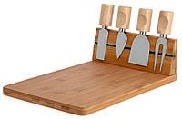 Бамбуковая доска для сыров и закусок + 4 ножа (335)