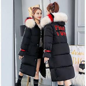 "Куртка длинная чёрная ""LOVE"" - Размер - L -  Код - 221-10, фото 2"