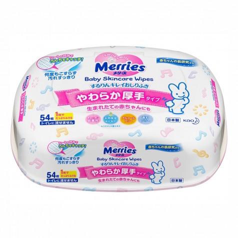 MERRІES Дитячі вологі серветки Пластиковий контейнер 54шт