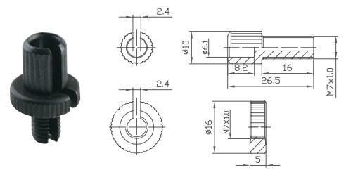 Гвинт регулювання гальмівної ручки Alligator M7x15мм чорний