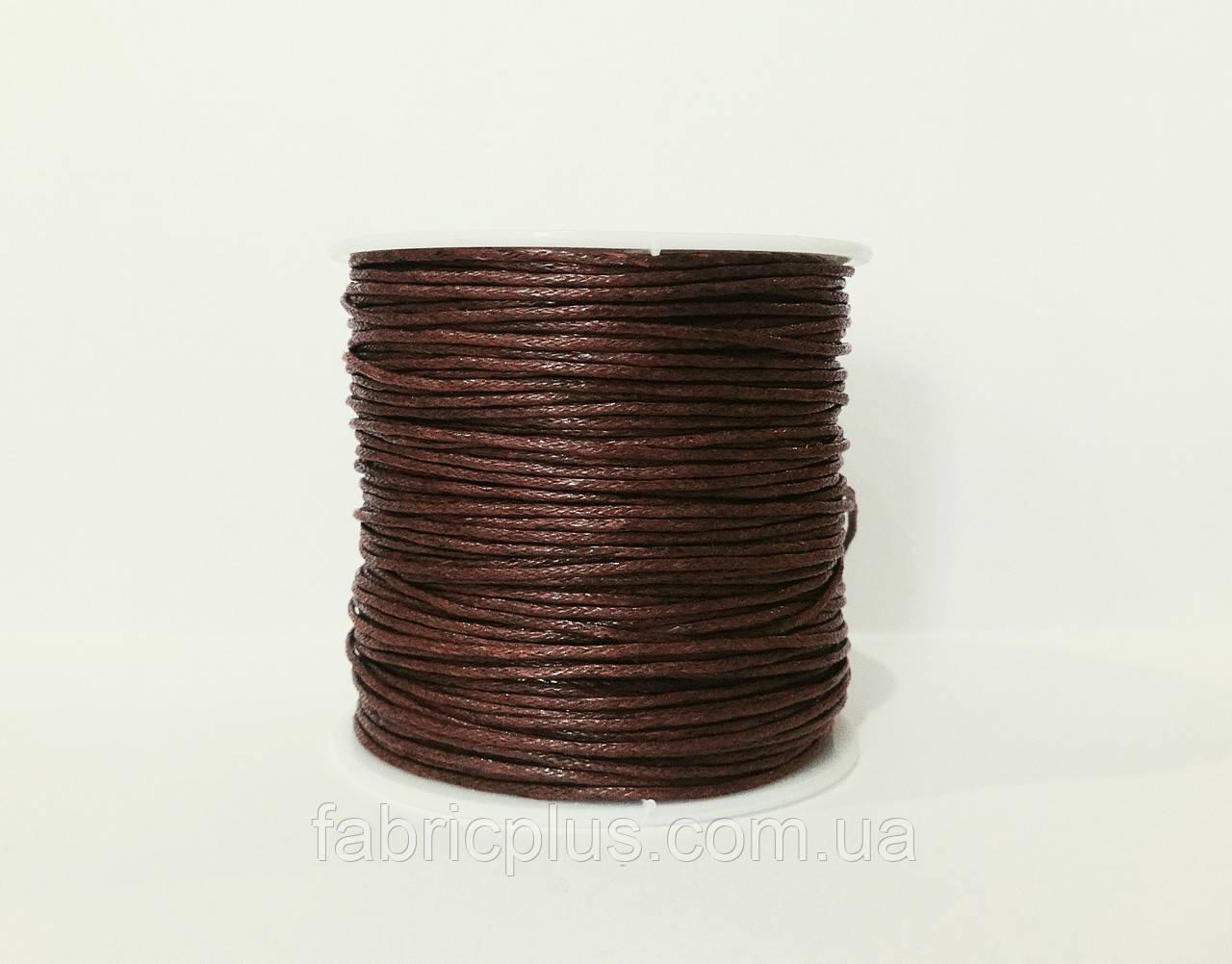 Шнур вощеный 1,2 мм для шамболы, коричневый
