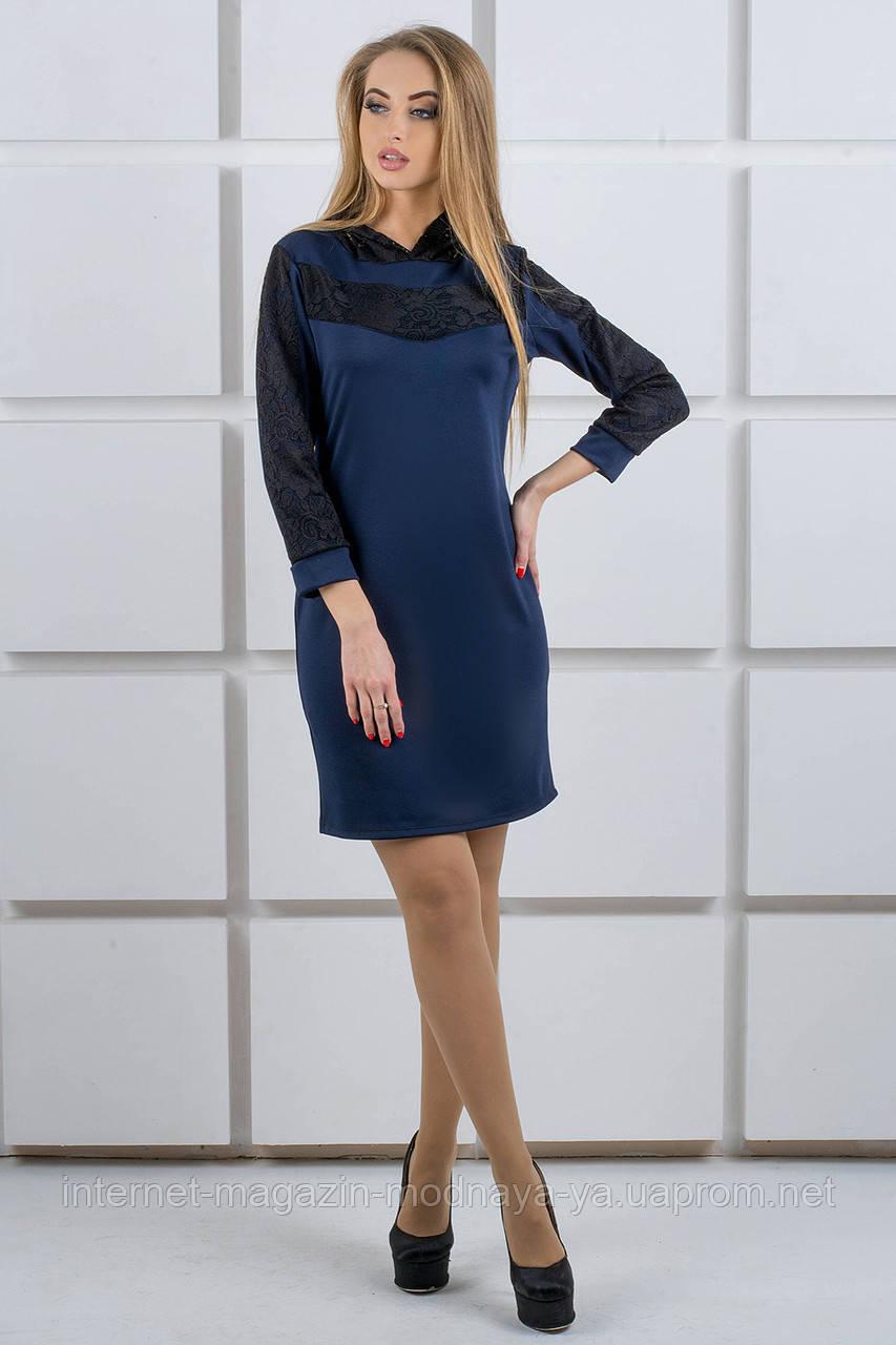 """Платье с капюшоном из гипюра """"Камита"""" р. 50;52 темно-синий"""