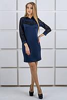 """Платье с капюшоном из гипюра """"Камита"""" р. 50;52 темно-синий, фото 1"""