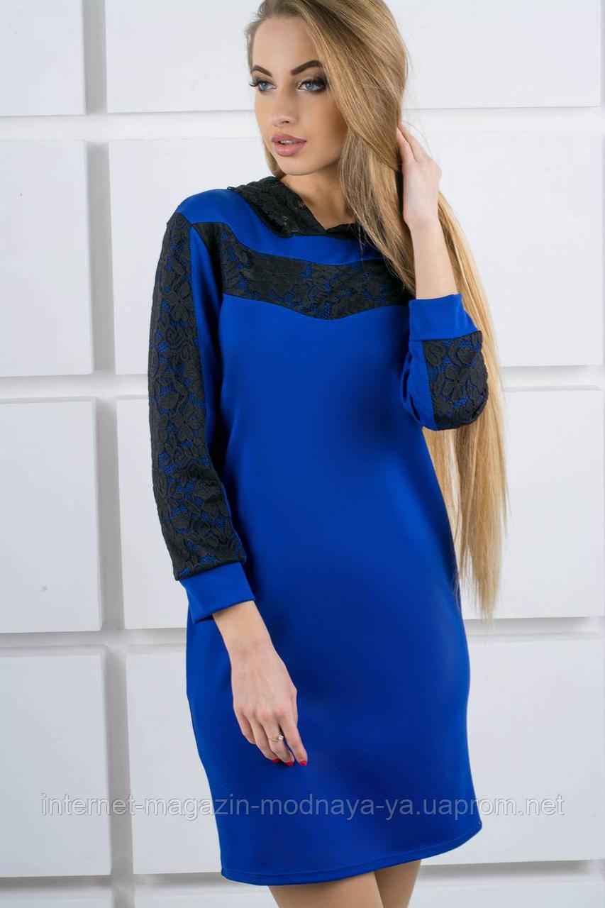"""Платье с капюшоном из гипюра """"Камита"""" р. 50;52 электрик"""
