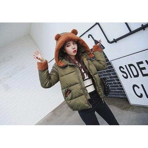 Куртка короткая цвета хаки с ушками на капюшоне Размер L - Код - 221-11