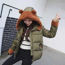 Куртка короткая цвета хаки с ушками на капюшоне Размер L - Код - 221-11, фото 3