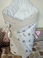 """Конверт-одеяло на выписку на липучке с красивым бантом (зимний), 90х90- """"Звездочка """""""