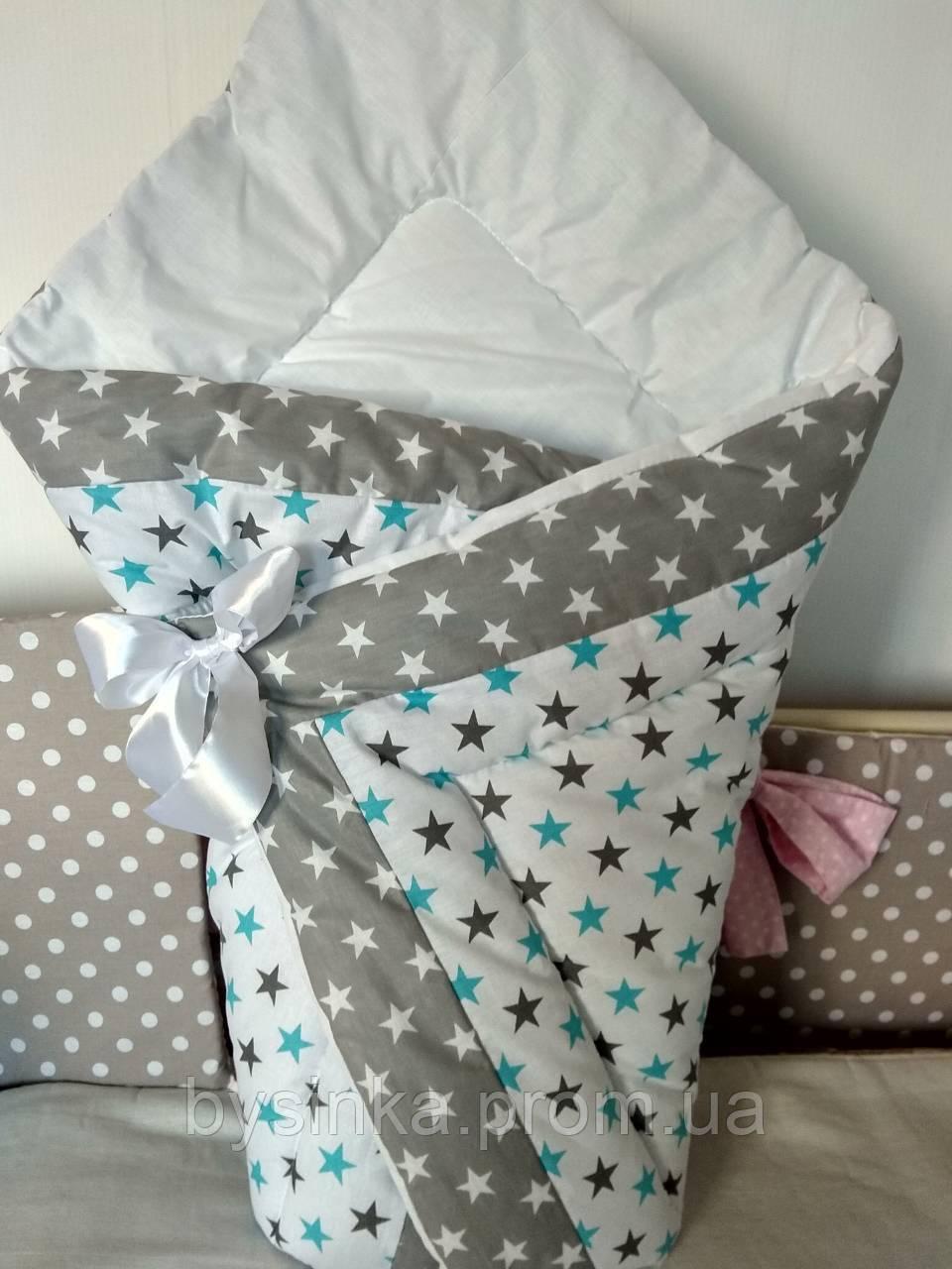 """Конверт-одеяло на выписку на липучке с красивым бантом (зимний), 90х90- """"Звездочка голубая"""""""