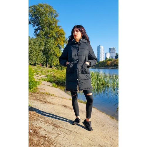 Куртка двухсторонняя чёрно-бежевая - Размер L - Код  - 221-08