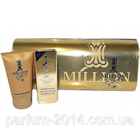 Набор Paco Rabanne 1 Million парфюм 100 мл + гель для душа в железном футляре (реплика), фото 2