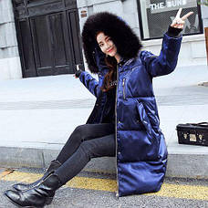 Куртка длинная синяя - Размер XL - Код-  221-09, фото 3