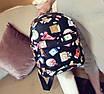 Рюкзак женский кожзам Цветочный принт духи Черный, фото 3