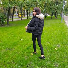 Куртка короткая чёрная со светлым капюшоном - Размер L - Код - 221-05, фото 2