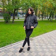 Куртка короткая чёрная со светлым капюшоном - Размер L - Код - 221-05, фото 3
