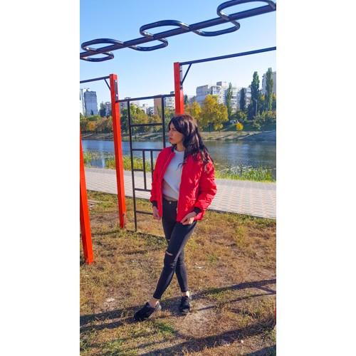 Куртка короткая красная стёганная Размер L - Код - 221-04