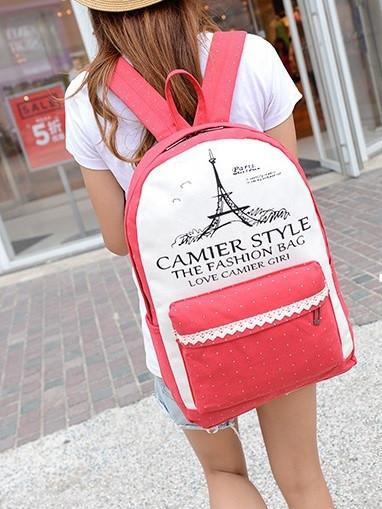 Рюкзак женский Париж городской школьный Коралловый