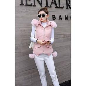 Жилет розовый с капюшоном - 221-03, фото 2