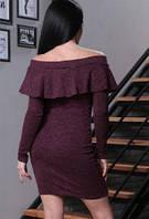 Платье миди с воланом и открытыми плечами, ткань ангора. Размеры норма:42, 44, 46, 48 . Разные цвета, фото 1