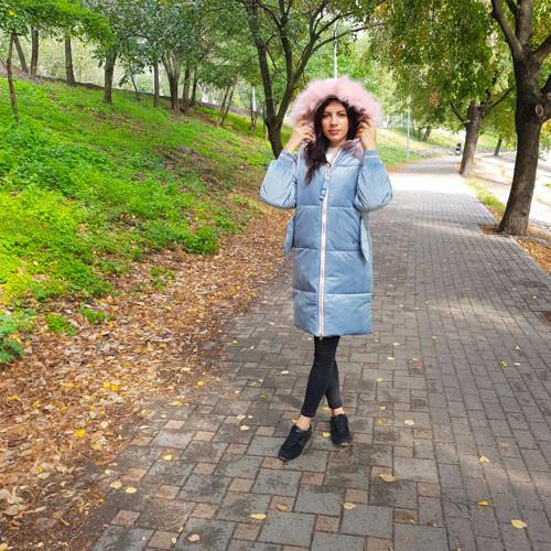 Куртка бархатная голубая с капюшоном-221-02