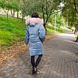 Куртка бархатная голубая с капюшоном-221-02, фото 2