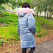 Куртка бархатная голубая с капюшоном-221-02, фото 3