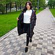 Куртка длинная чёрная на молнии и кнопках с капюшоном - Размер L  код - 221-01, фото 2