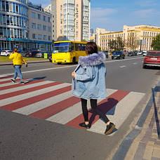 Парка джинсовая на подкладке из искусственного меха - 219-01, фото 3