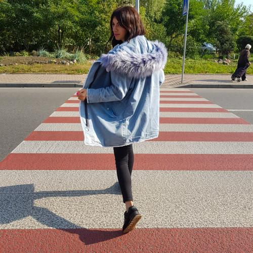 Парка джинсовая на подкладке из искусственного меха - 219-01