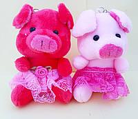 Мягкая игрушка брелок Свинка большая девочка Символ 2019 года размер 11,5*6 см