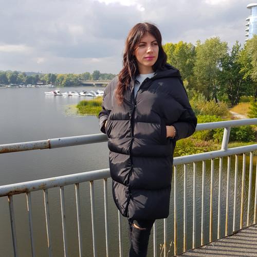 Куртка чёрная с капюшоном - 218-02