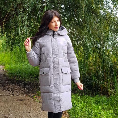 Куртка серая средней длины - 218-01