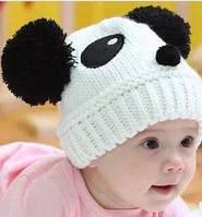 Шапка детская с помпонами Панда весна-осень