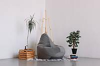 Серое кресло-мешок груша 120*90 см из микровелюра Багира