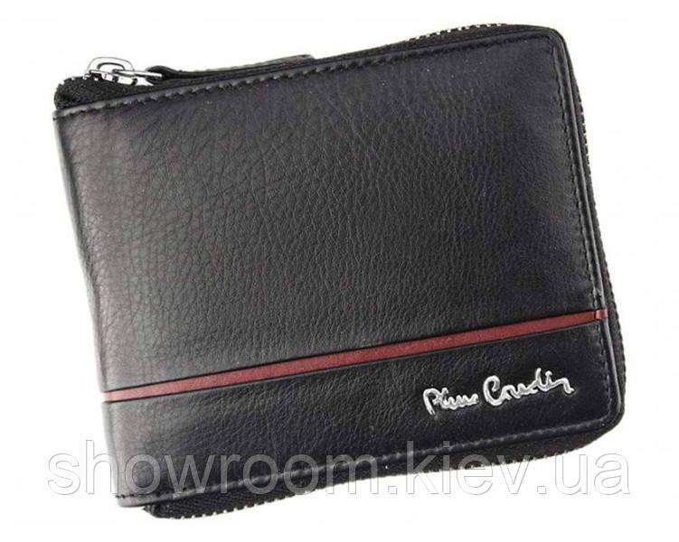 Кошелек мужской Pierre Cardin (818 red RFID) кожаный черный оригинал
